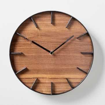 Wood-Faced Wall Clock, Brown - West Elm