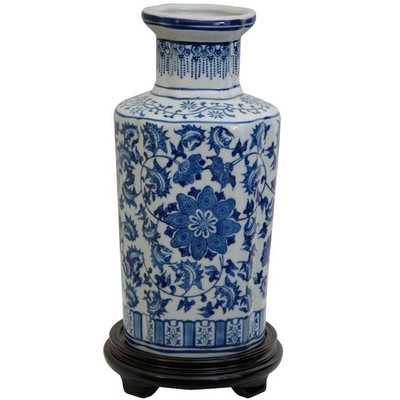McGibbony Blue Floral Vase - Birch Lane