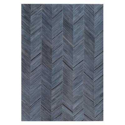Natural Hide Hand-Tufted Cowhide Blue/Black Area Rug - Wayfair