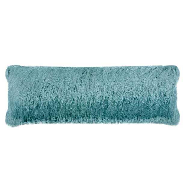 Safavieh Soleil Solid Blue Shag Lumbar Outdoor Throw Pillow - Home Depot