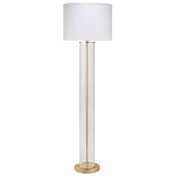 Kali Modern Classic Gold Metal Clear Glass White Linen Shade Floor Lamp - Kathy Kuo Home