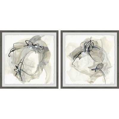 'Twisted Lines' 2 Piece Framed Watercolor Painting Print Set - Wayfair