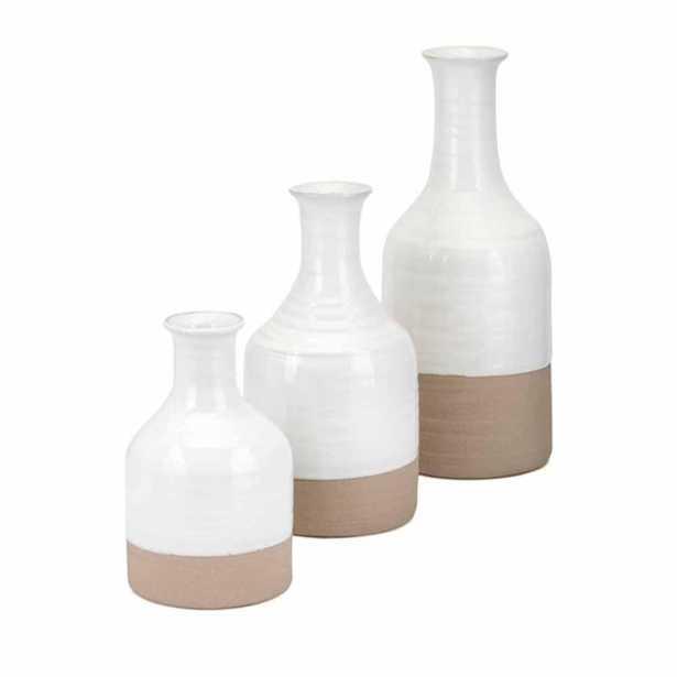IMAX Athena White Vases (Set of 3) - Home Depot