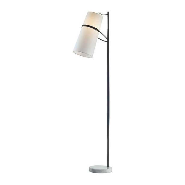 Titan Lighting 70 in. Matte Black Banded Shade Floor Lamp - Home Depot