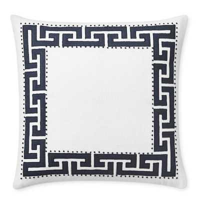 "Paloma Contreras Greek Key Linen Applique Pillow Cover, 22"" X 22"", White/Navy - Williams Sonoma"