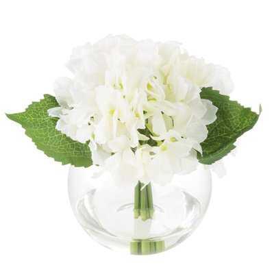 Hydrangeas Floral Arrangement in Glass Vase - Birch Lane