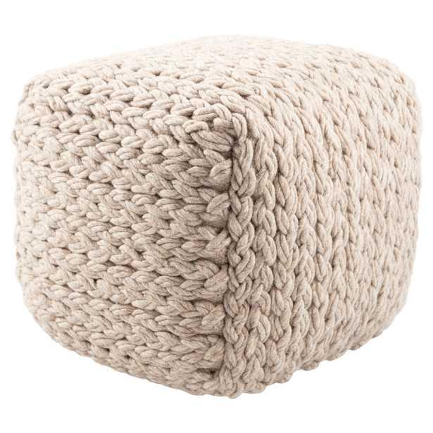 Kyran Cream Textured Square Pouf - Collective Weavers