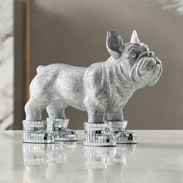 French Bulldog Sculpture with Mirror Boots - CB2
