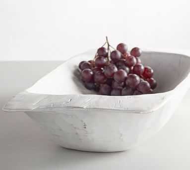 Wooden Dough Bowl Trays, White, Large - Pottery Barn