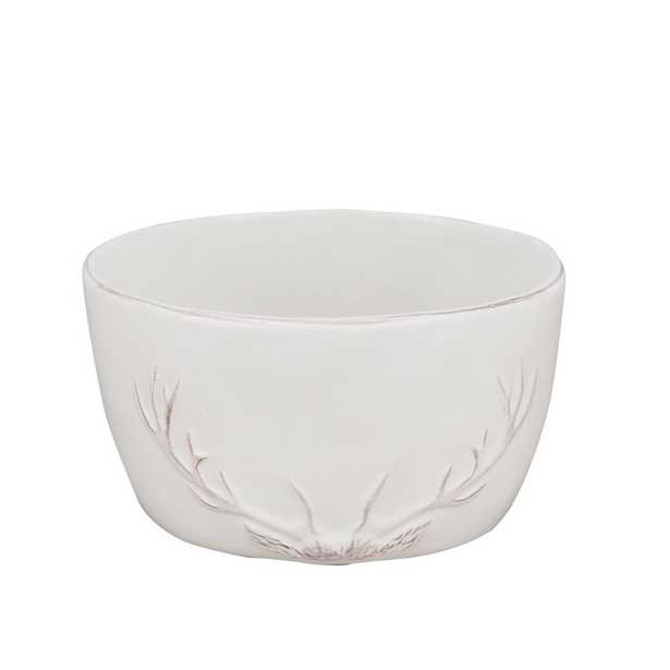 Reindeer Silhouette White Bowl (Set of 4) - Home Depot