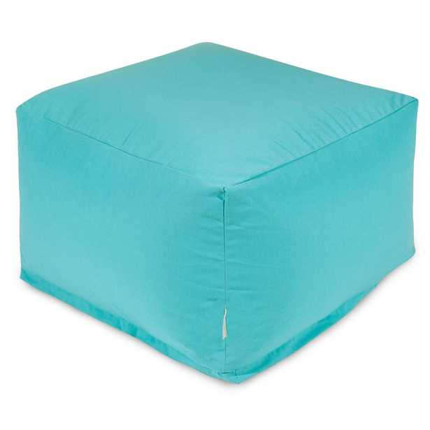Majestic Home Goods Teal Solid Indoor/Outdoor Ottoman Cushion - Home Depot