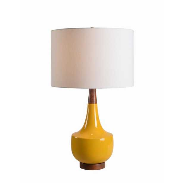 Kenroy Home Tessa 26 in. Yellow Table Lamp with Wood Accents - Home Depot