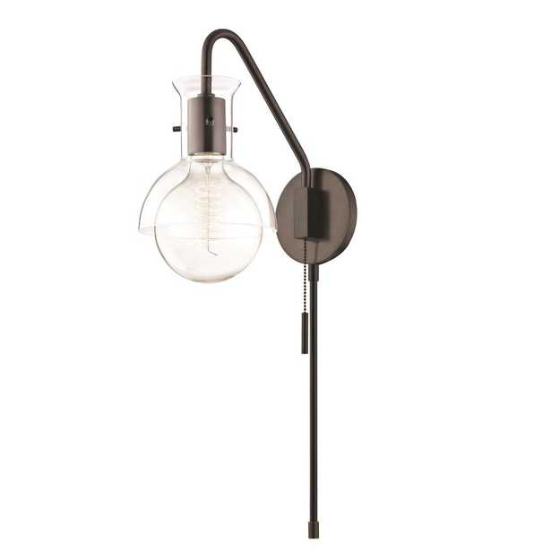 Mitzi by Hudson Valley Lighting Riley 1-Light Old Bronze Wall Sconce with Clear Glass - Home Depot