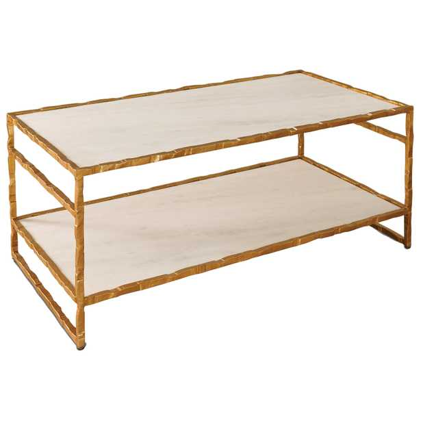 Tifelt Global Bazaar Hand Carved Iron Gold Finish Coffee Table - Kathy Kuo Home