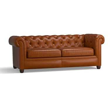"""Chesterfield Leather Sofa 86"""", Polyester Wrapped Cushions, Leather Legacy Dark Caramel - Pottery Barn"""