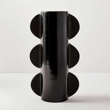 Meso Scalloped Edge Vase, Tall Vase, Black - West Elm