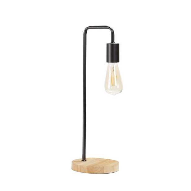 Silverwood Ryker 20 in. Black Metal Exposed Bulb Table Lamp with Shade - Home Depot
