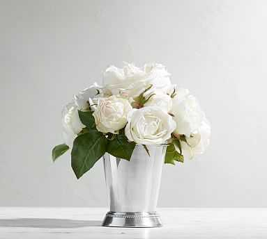 Faux Composed Roses in Silver Cup - Pottery Barn