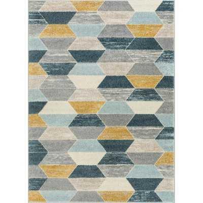 Mystic Maddox Modern Vintage Geometric Blue/Gray Area Rug - Wayfair