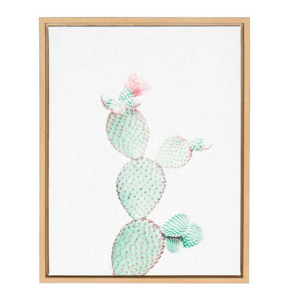 """24 in. x 18 in. """"Prickly Pear"""" by Tai Prints Framed Canvas Wall Art, Natural - Home Depot"""