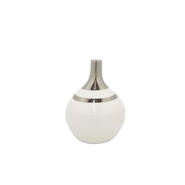 White and Silver Decorative Vase - Home Depot