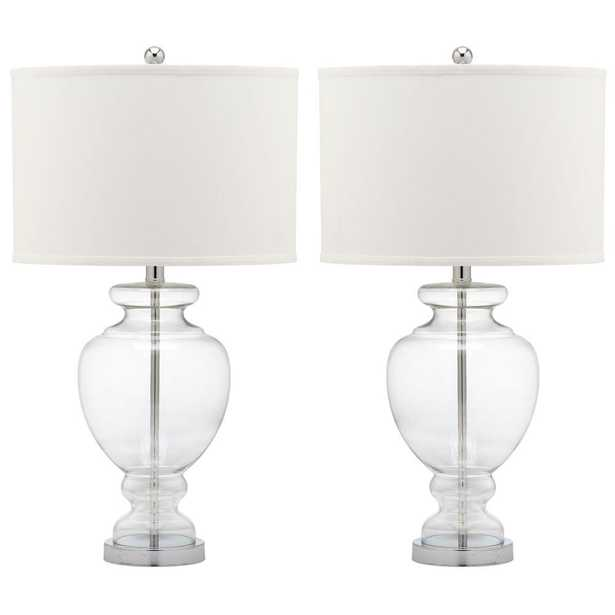 Safavieh Glass 28 in. Clear Table Lamp with Off-White Shade (Set of 2) - Home Depot