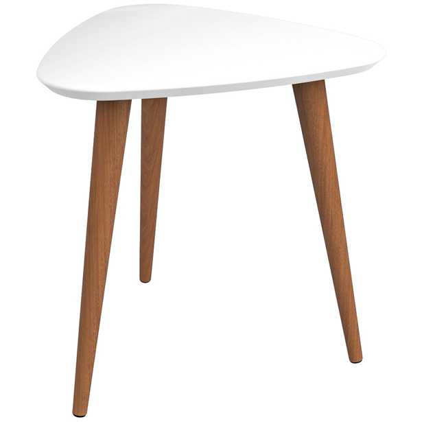 Utopia White Gloss and Maple Cream Triangular End Table - Style # 38K67 - Lamps Plus