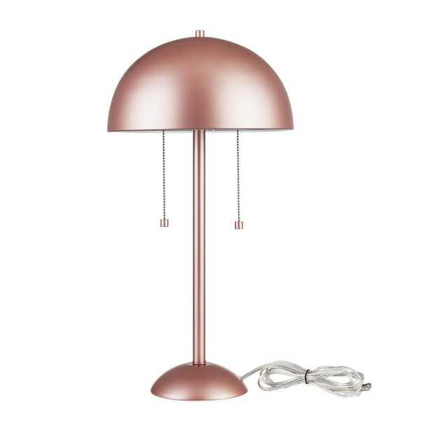Novogratz x Globe Electric Novogratz x Globe 21 in. 2-Light Matte Rose Gold Table Lamp - Home Depot