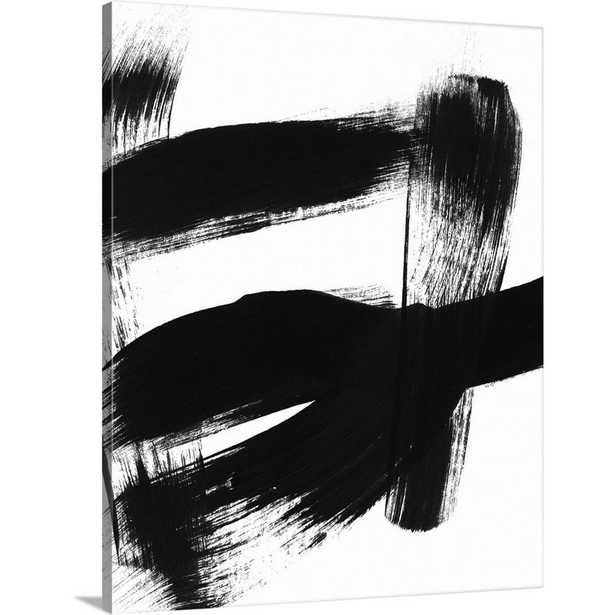 BW Brush Stroke II by Linda Woods Canvas Wall Art, Multi-Color - Home Depot