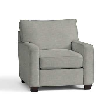 Buchanan Square Arm Upholstered Armchair, Polyester Wrapped Cushions, Premium Performance Basketweave Light Gray - Pottery Barn