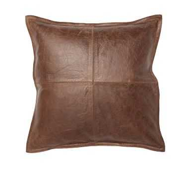 Pieced Leather Pillow Cover, Whiskey - Pottery Barn