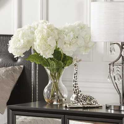 Large Silk Hydrangea Floral Arrangement in Vase - Birch Lane