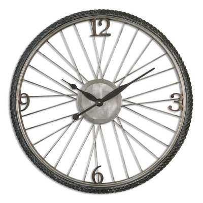 "26.25"" Aged Silver Round Wall Clock - Wayfair"