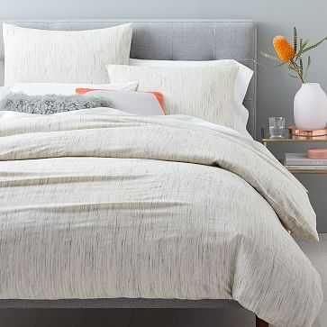 Organic Washed Melange Jacquard Duvet Cover, Full/Queen - West Elm