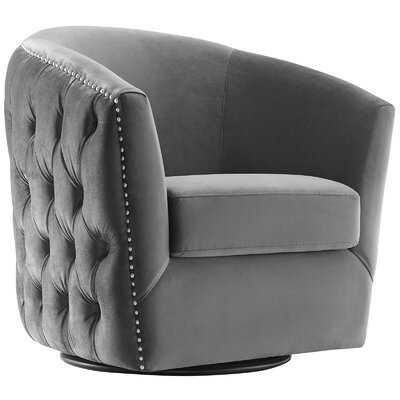 Mckinnon Performance Velvet Swivel Barrel Chair - Wayfair