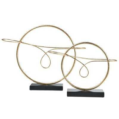 Metal Round Table Ornament On Black Base Set Of Two Metallic Finish Gold - Wayfair