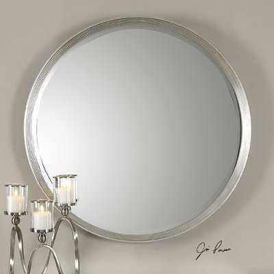 Round Silver Accent Wall Mirror - Wayfair