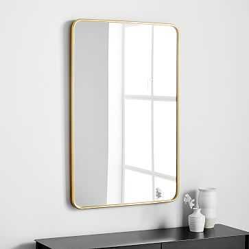 Modern Streamline Wall Mirror, Antique Brass - West Elm