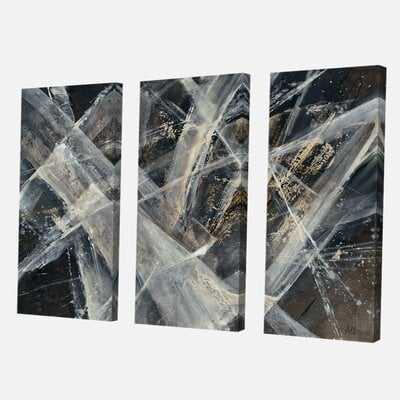 'Abstract Glacial Black and White' Painting Multi-Piece Image on Wrapped Canvas - Wayfair