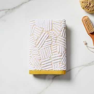 Organic Dashed Lines Sculpted Towel, Hand Towel, Dark Horseradish - West Elm