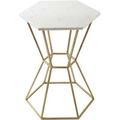 Kace Modern Marble, Gold End Table - Wayfair