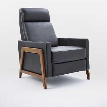 Spencer Wood Framed Recliner, Nero, Pecan Legs-Individual - West Elm