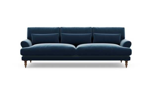 Maxwell Sofa with Sapphire Fabric and Oiled Walnut legs - Interior Define