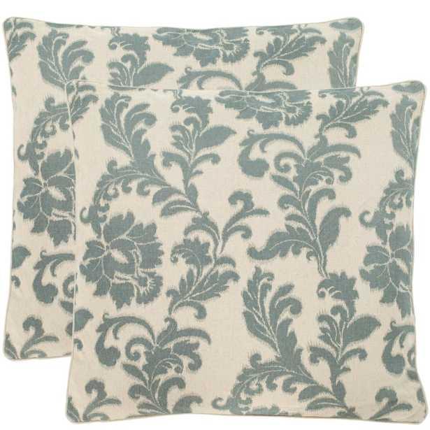 Aubrey Printed Patterns Pillow (2-Pack), Silver/Blue - Home Depot