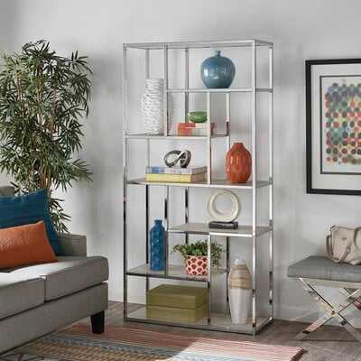 "Enochs Chrome Finish 72"" Asymmetrical Display Bookcase - Wayfair"