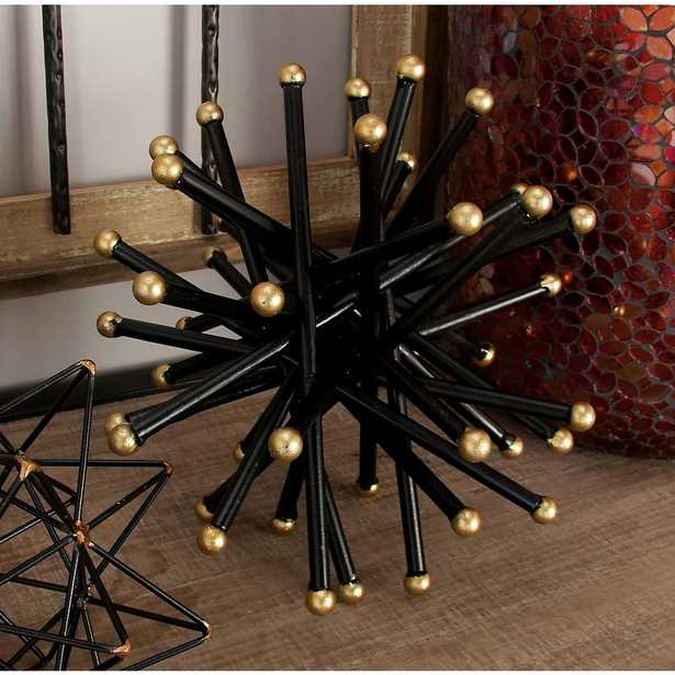 Round Iron Metal Black and Gold Spiked Orb Sculptures (Set of 2) - Home Depot