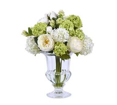 """Faux Rose Hips In Glass Vase - White/Green, 16"""" - Pottery Barn"""