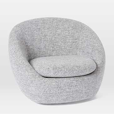 Cozy Swivel Chair, Chunky Melange, Frost Gray - West Elm