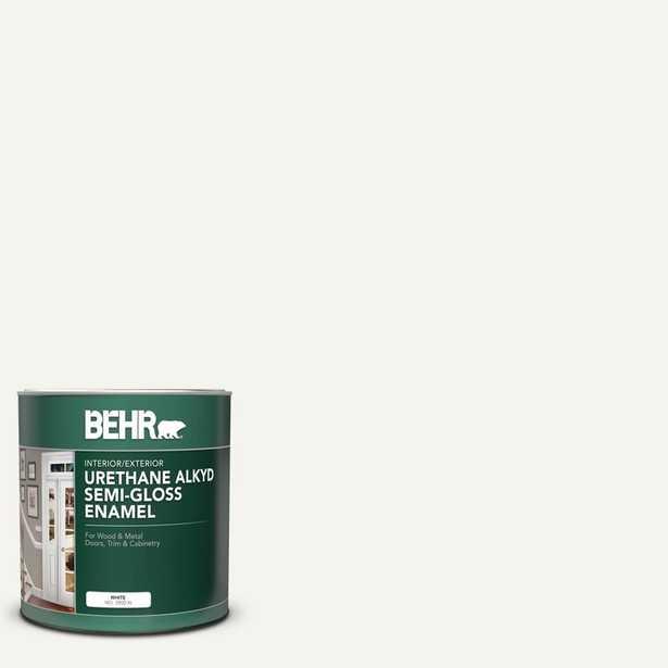 BEHR 1 qt. #PWN-10 Decorator White Semi-Gloss Enamel Urethane Alkyd Interior/Exterior Paint - Home Depot