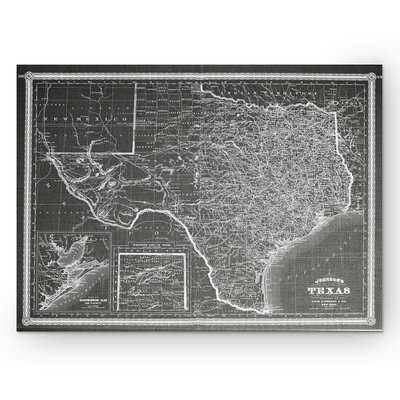 'Vintage Map Texas' Graphic Art Print on Wrapped Canvas in Gray - Wayfair